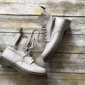 Dr Martens Pascal Boots in Taupe, 8 eye. Soft
